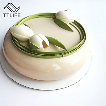 TTLIFE Creative Kitchen Baking Mousse Moulds Eclipse Round Shaped One Set  Flat Top and Rounded Sides Silicone Mold Cake Molds