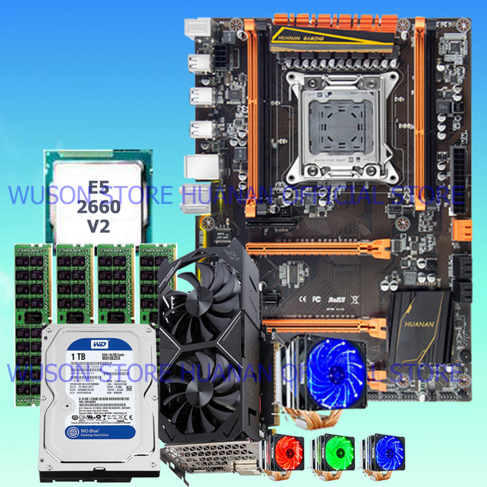 HUANAN deluxe X79 motherboard 1TB 3.5' SATA HDD GTX1050Ti 4GD5 CPU E5 2660 V2 with 6 heatpipes cooler RAM 32G(4*8G) DDR3 RECC термосумка thermos e5 24 can cooler 19л [555618] лайм