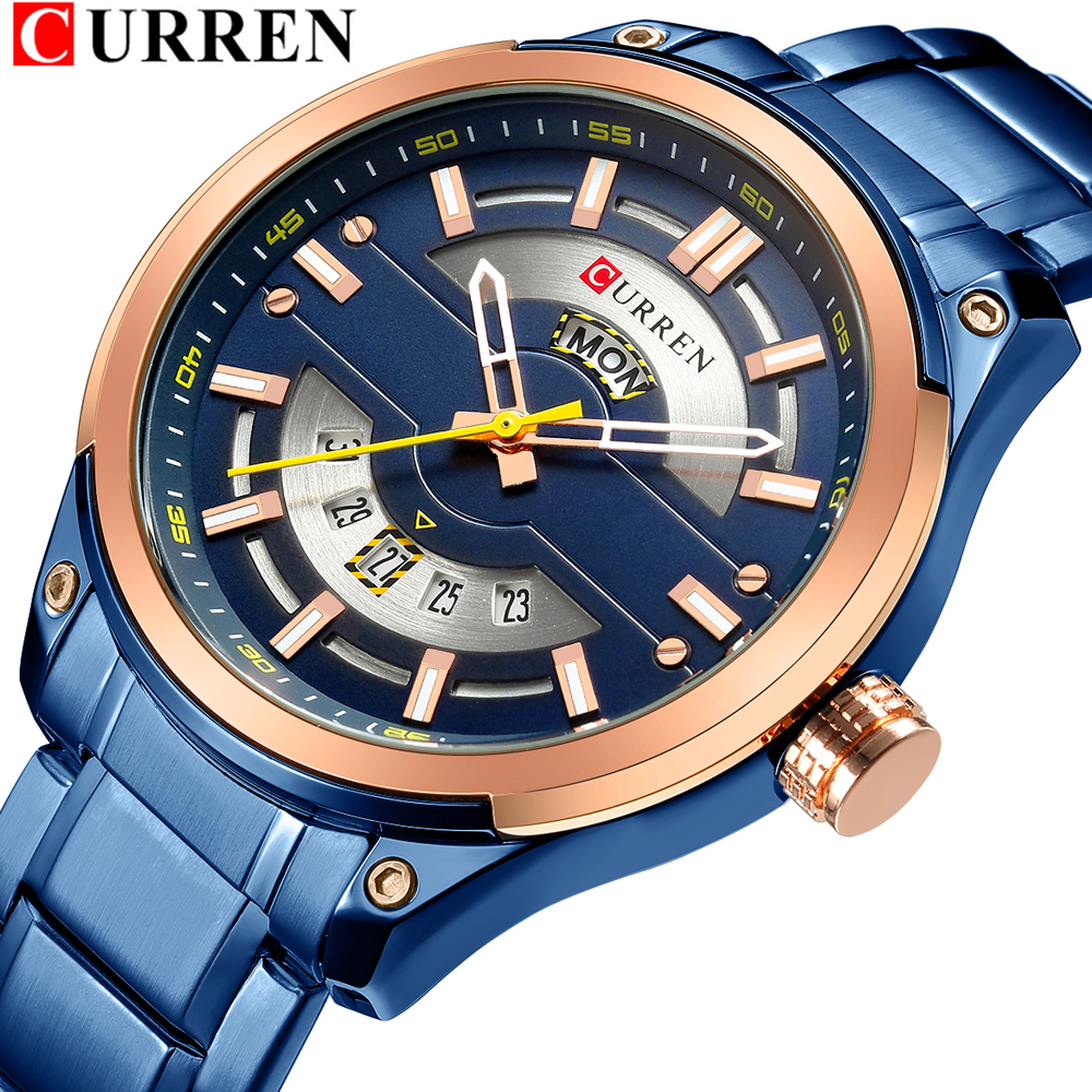 CURREN Calendar Watches Casual Sport Watch For Men 30M Water Resistant Stainless Steel Band Male Clock Luminous Wristwatches