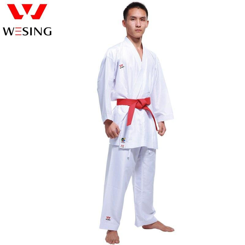 Wesing WKF Aprovou Karate gi Karate Dobok Uniforme Adulto Crianças Karate Kumite Competição Terno de Poliéster Confortável 100%