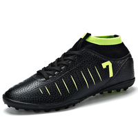 ZHENZU Turf Indoor Men Black Soccer Shoes Kids Cleats Training Football Boots Socks Sneakers Size 35 44 Number 7 Dropshipping
