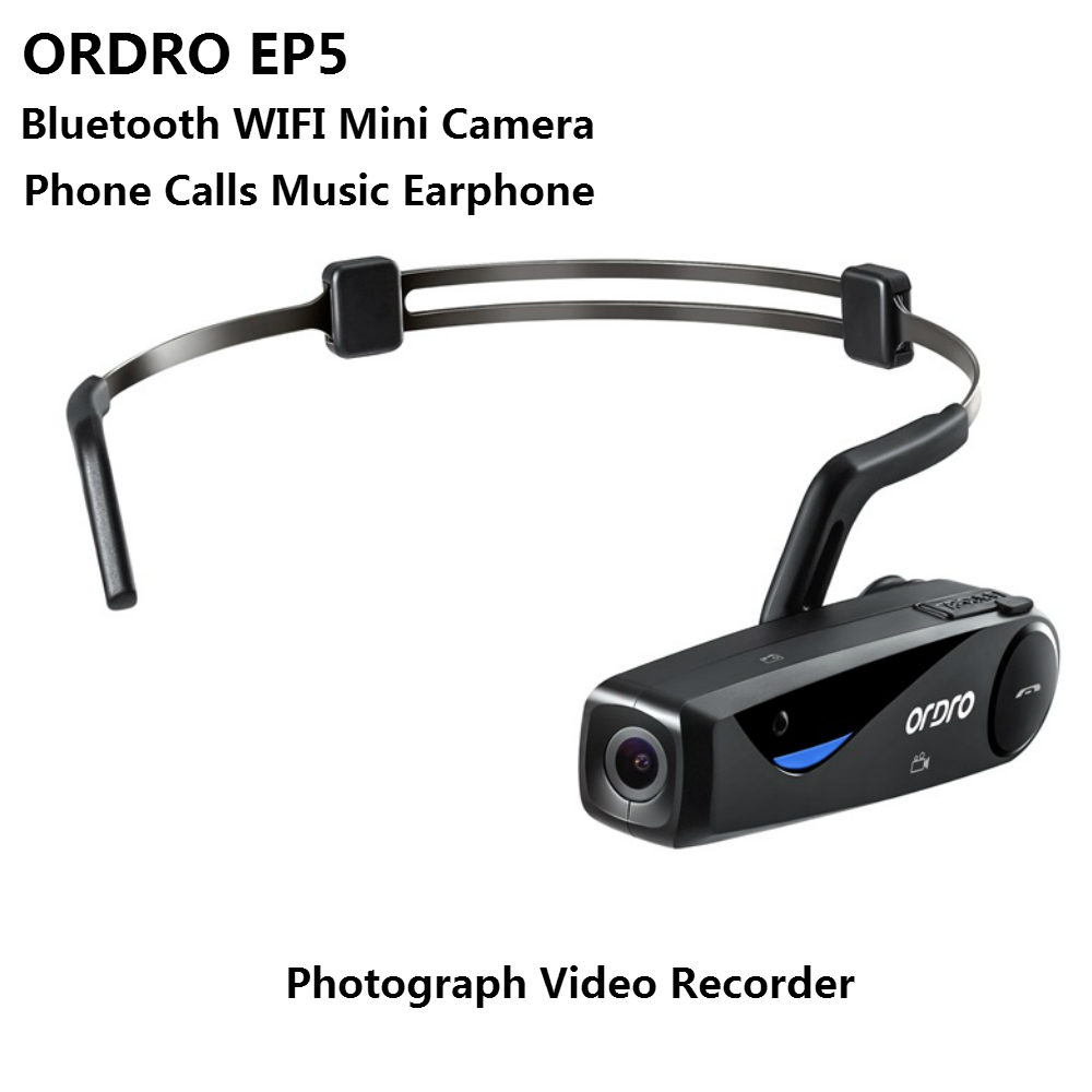 ORDRO EP5 WIFI Bluetooth Bone Conduction Phone Calls Music Earphone Photographed 1080P HD Video Recording Camera Support TF Card