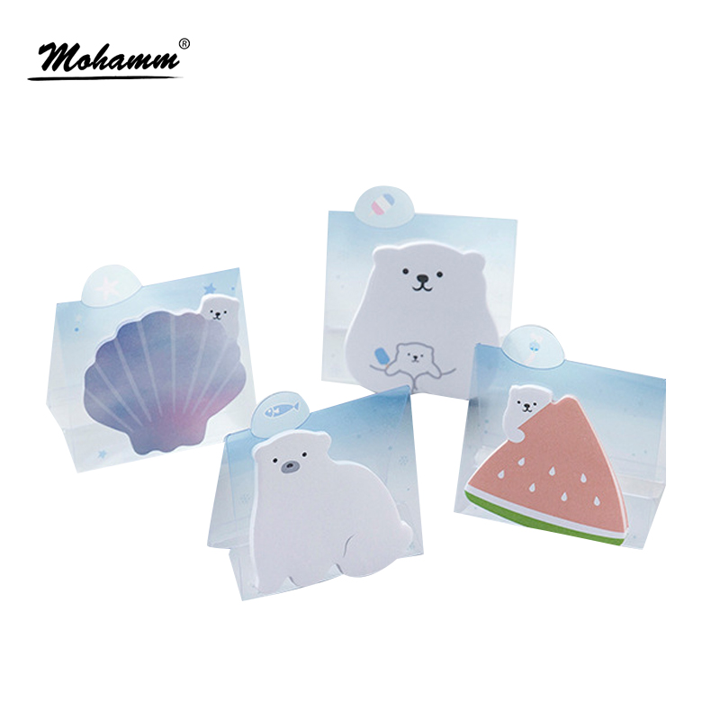 Creative Cute Mr.White Bear Sticky Notes Post It Scrapbooking Diary Stickers Planner Memo Pads Office School Supplies Papelaria 120pcs 3sets cute diary stationery stickers pack post it chubby rabbit series scrapbooking sticky escolar school supplies