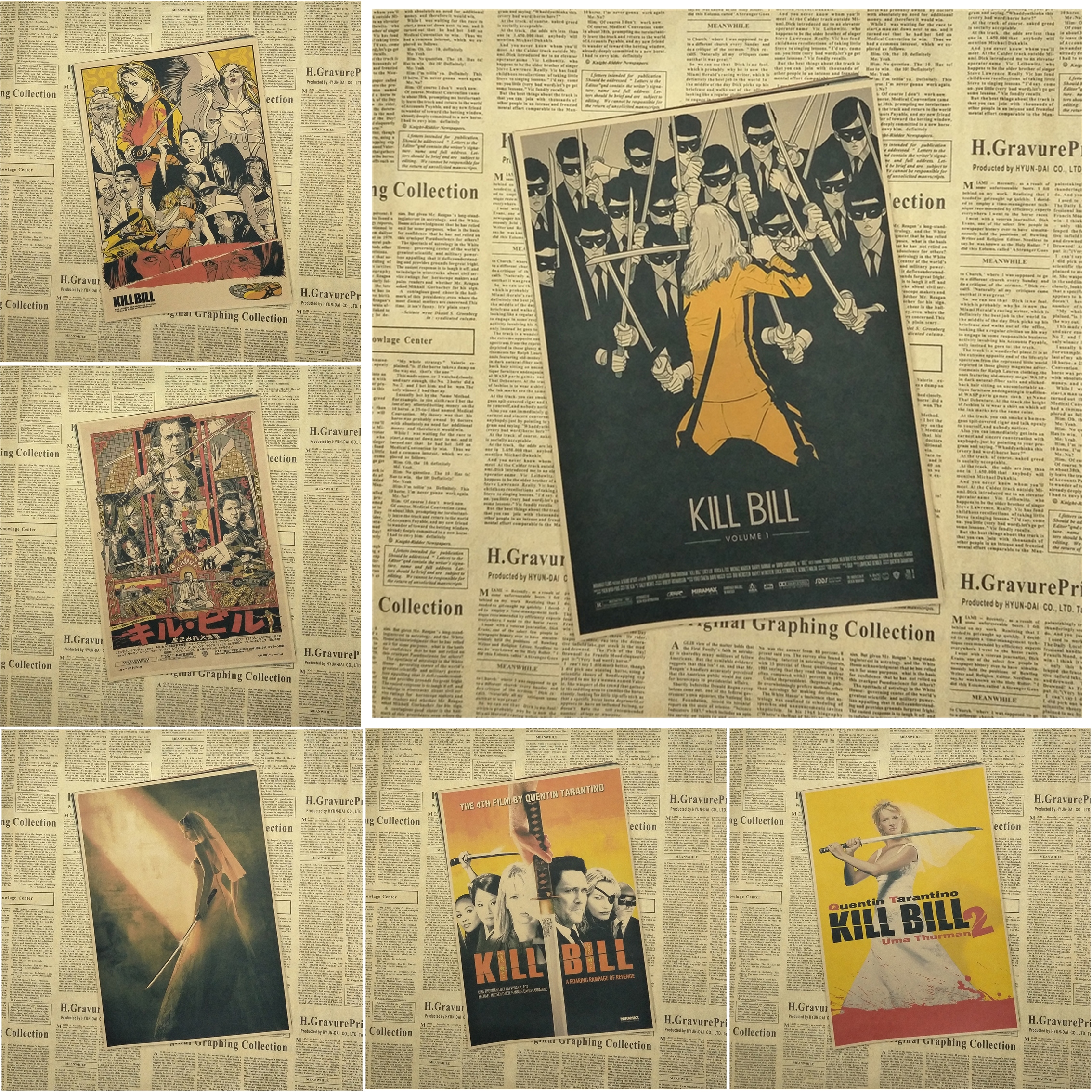 Kill Bill Vol Classic Retro Movie Kraft Paper Poster Bar Cafe Living Room Dining room Quentin Tarantino Poster Videos image