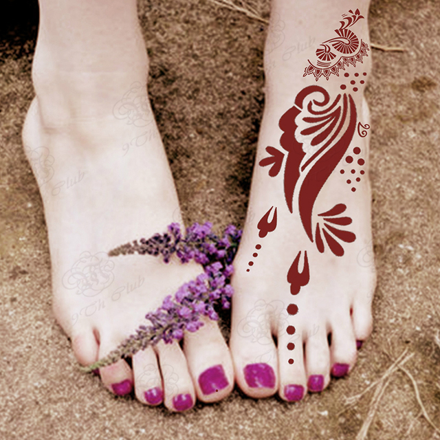 6 st cke henna tattoo schablonen f r f e k rper farbe gro e blume glitter airbrush mehndi fu. Black Bedroom Furniture Sets. Home Design Ideas