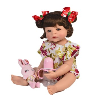 55cm Full Body Silicone Reborn Girl Baby Doll Toys 22inch Newborn cute handmade bebe Babies Dolls Bathe Toy Play House Toy Doll