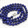 Fashion statement women long chain necklace 8mm natural lapis lazuli stone jasper round beads high quality jewelry 36inch B3211