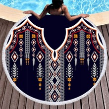 Bear Totem/Native Indian Bath Towel for Beach Thick Round 3d print Fabric Quick Compressed Towel new style-2 indian elephant print chiffon round beach throw