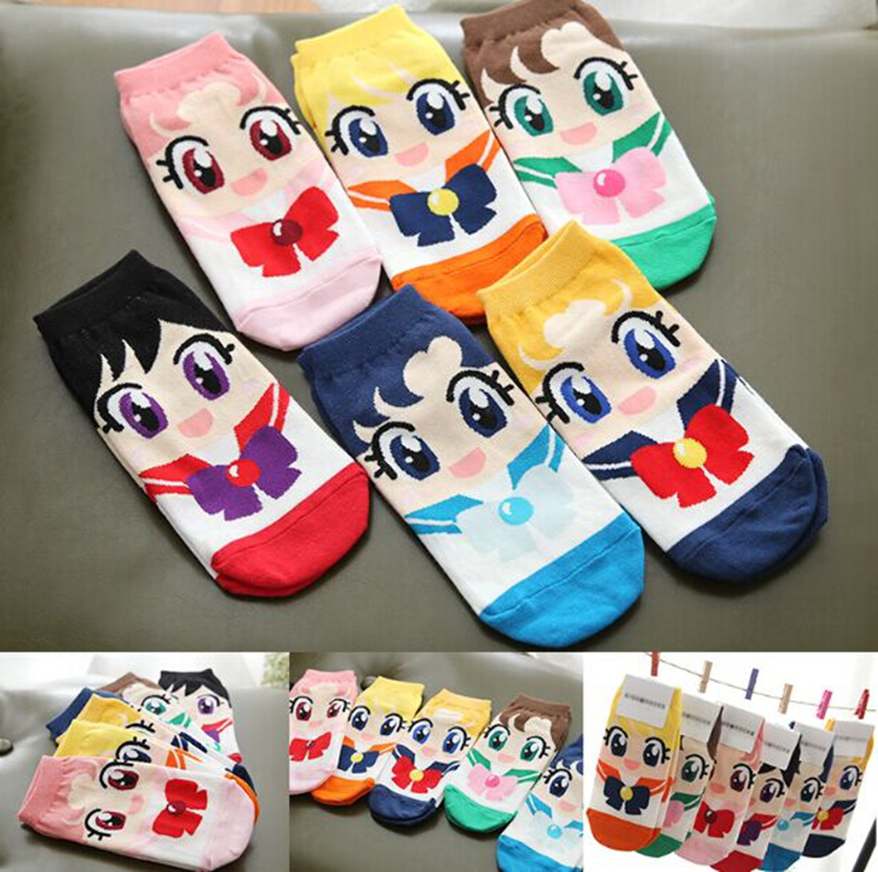 Sailor Moon cute cartoon sox Spring Summer South Korean women's Fashion Cotton ankle Socks meias soks