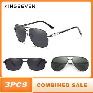 Image 1 - 3 stks KINGSEVEN Brand Design Zonnebril Mannen Gepolariseerde Lens 100% Uv bescherming Gecombineerde Verkoop