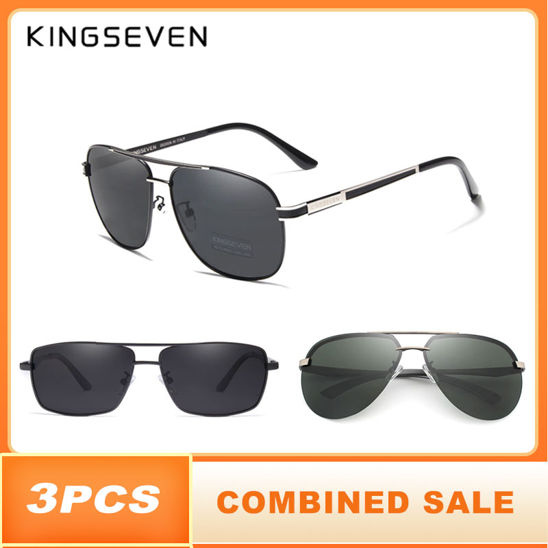3PCS KINGSEVEN Brand Design Sunglasses Men Polarized Lens 100% UV Protection Combined Sale-in Men's Sunglasses from Apparel Accessories