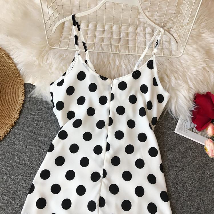Women Beach Red Dress 2019 Summer New Seaside Holiday Sleeveless Dot Print Casual Vestidos E496 43