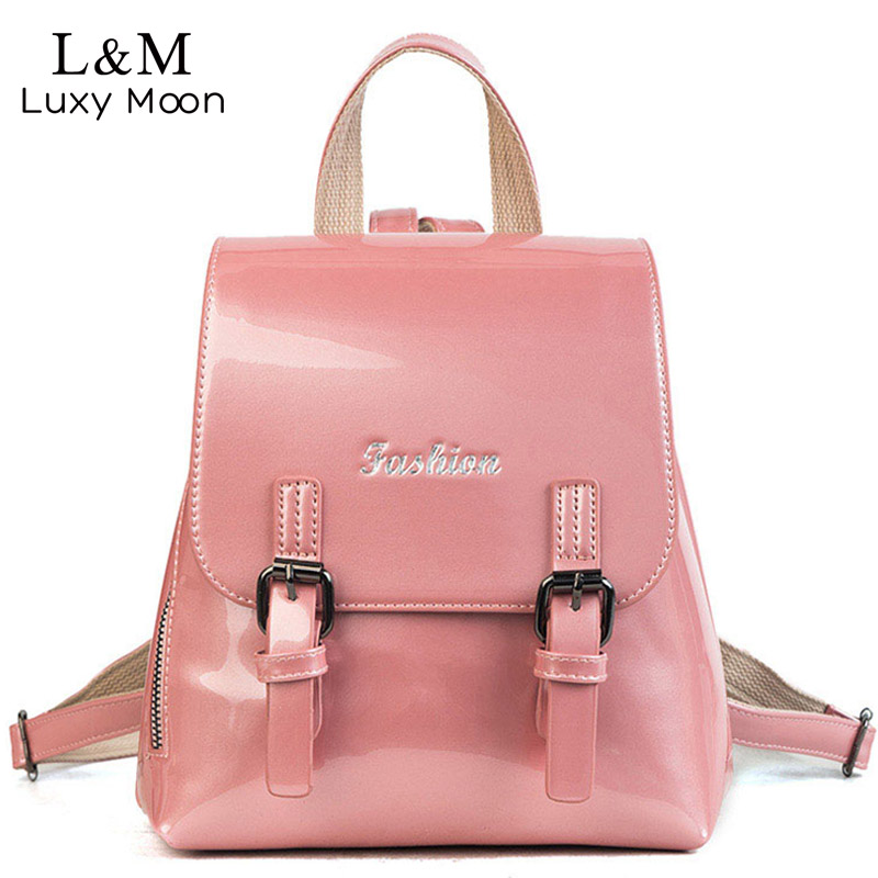 Luxy moon Girls Patent Leather Backpacks Women 2018 Bling Rucksack Shoulder Bags For Teenage Girls Candy Color School Bag XA415H