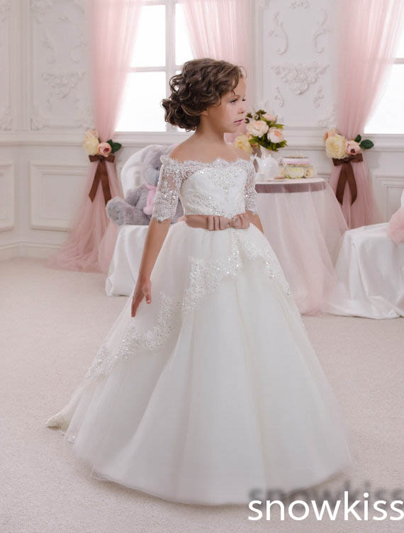 White/ivory holy communion bling sequins lace wedding Flower Girl Dresses Off the shoulder juniors Ball Gowns with sleeves white lace details off shoulder playsuits with belt