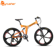 Cyrusher RD100 Folding Mountain Bike Full Suspension frame road Bicycle 24 Speeds 26X17 Inch Double Disc