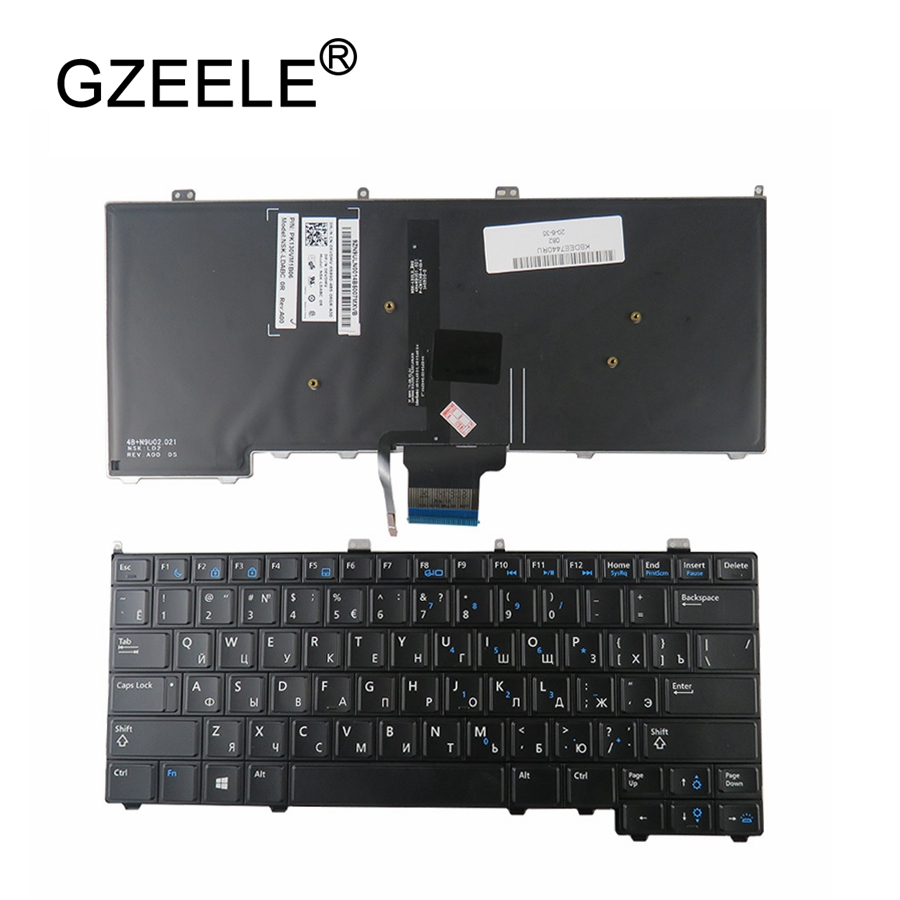 GZEELE NEW For DELL For Latitude E7440 E7240 Russian Laptop Keyboard With Backlit RU Backlight Keyboard