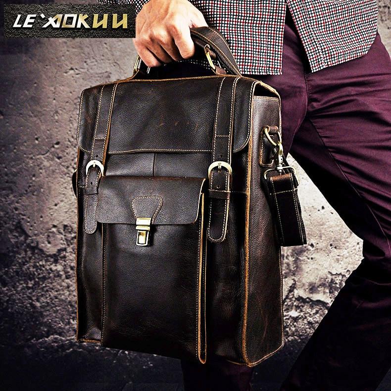 Men Real Leather Designer Casual Travel Bag Male Fashion Backpack Daypack University Student School Book Bag