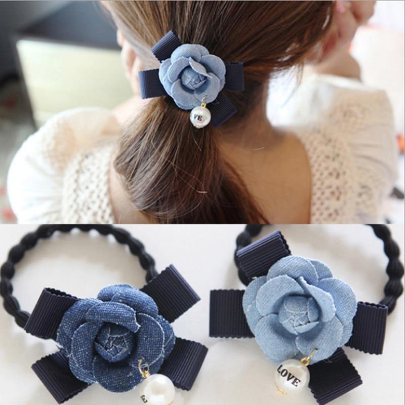 Denim flower girls elastic hair rubber bands ties accessories for women hair ring rope ornaments scrunchy gum headwear headdress