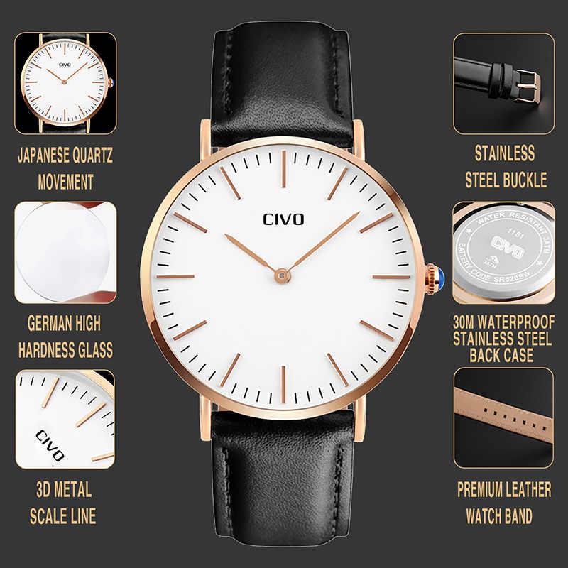 Reloj de pulsera con diseño clásico Simple y a prueba de agua para hombre, reloj de cuarzo Ultra delgado, marca superior para hombre