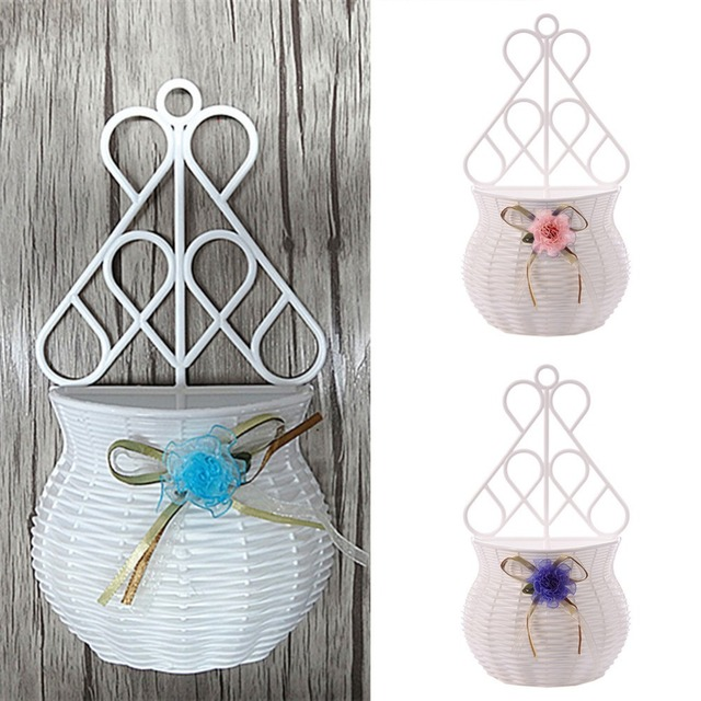 Handmade Flower Basket Modern Design Artificial rattan  Wall Hanging Small Artificial Rattan Flower Basket for Home Decoration