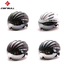 CAIRBULL EPS+PC TT Goggle Lens Bicycle Helmet Short-tail Time Trial Bike Helmet TT Aero Track Cycling Helmet