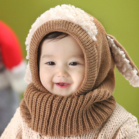 New Winter Baby Hat And Scarf Puppy Design Hooded Crochet Scarf Girl Boy Toddler Kids Neck