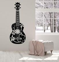 Aplique de pared de vinilo para guitarra acústica, guitarrista, músico, cartel desmontable, decoración de diseño de arte para el hogar, 2 yy6