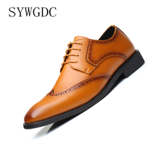 SYWGDC Men Dress Shoes Retro Bullock Design Men Business Formal Shoes Office Wedding Flats Man Casual Party Shoes Big Size 38-48 стоимость