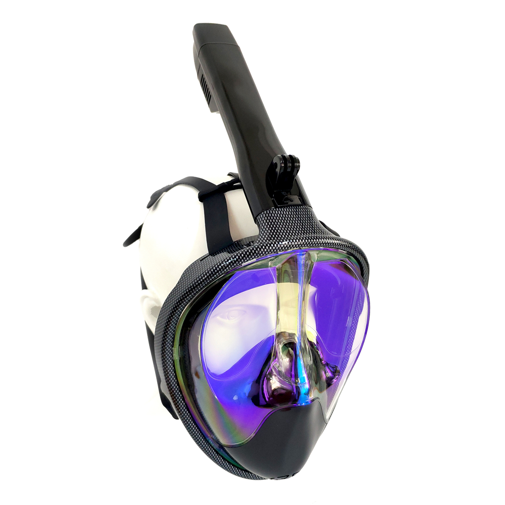 Plated Gold and Blue Underwater Anti Fog Diving Mask Snorkel Swimming Training Scuba mergulho 2 In 1 full face snorkeling mask