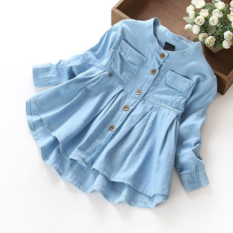 New spring 2016 girls blouses shirts denim baby girl for Childrens dress fabric