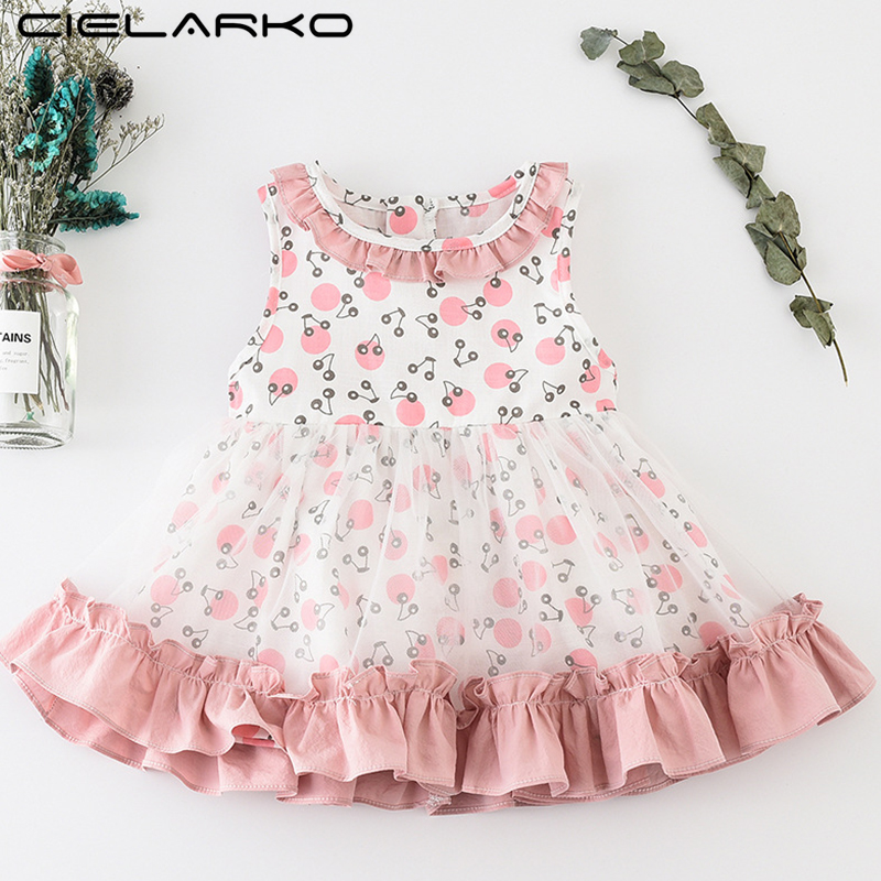 Cielarko Infant Girls Dress Summer Cherry Print Toddler Clothes Cartoon Tulle Newborn Dresses Princess 2018 New Baby Girl Frocks