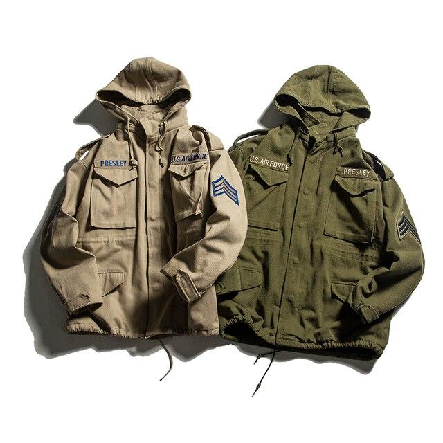 TOTURN ミリタリーカジュアルメンズフード付きジャケット緩いフリースコートオム綿パイロット軍ジャケットカーキ ArmyGreen 米国空軍パーカー