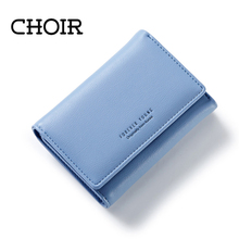 CHOIR Elegant Women Leather Wallet Fashion Lady Portable Multifunction Short Solid Color Change Purse Hot Female Clutch Carteras