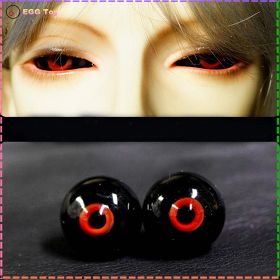 Mata kaca untuk boneka, Mata BJD bola, 14 mm 16 MM bola mata merah hitam untuk boneka BJD, Mata buatan tangan untuk 1/4 1/6 1/3 boneka