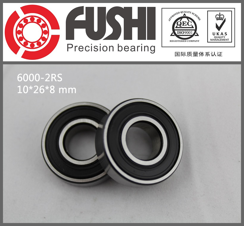 6000-2RS Bearing ABEC-5 (10PCS) 10x26x8 mm Deep Groove 6000 2RS Ball Bearings 6000RS 180100 RS 6000 2rs sealed deep groove ball bearing 10mm inner dia black silver tone