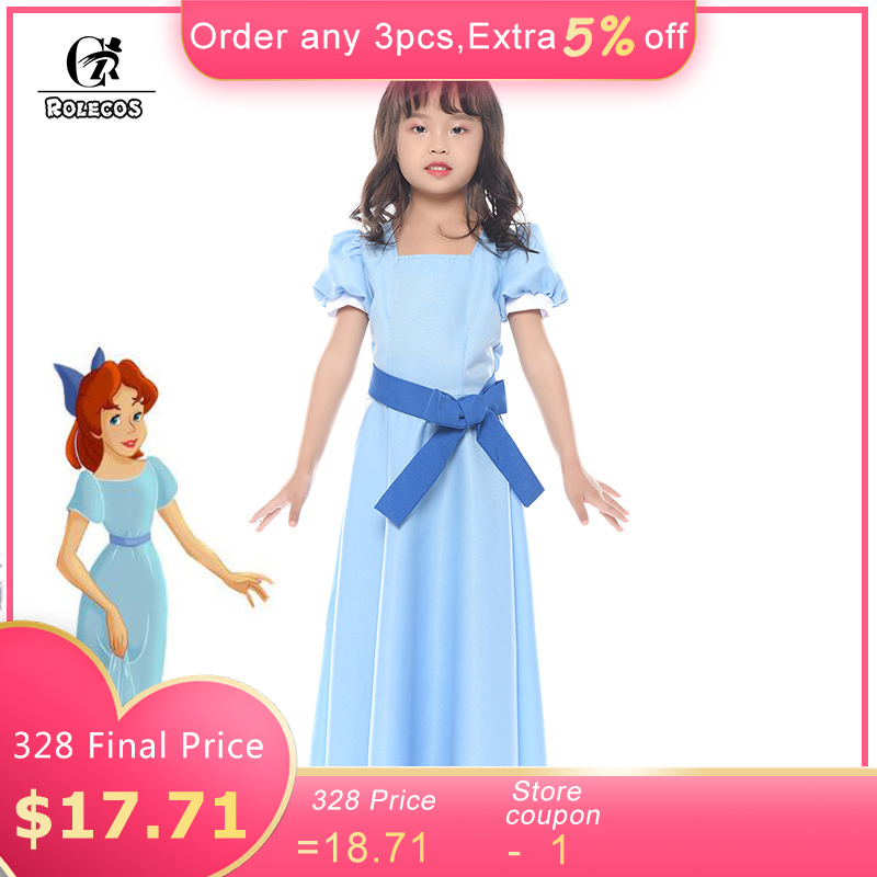 ROLECOS Peter Pan Wendy Cosplay Costume Blue Girl Dress Half Sleeve Party Princess Dress for Kid Sweet Dress with Belt Bowknot
