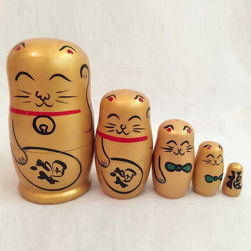 5pcs Fortune Cat Nesting Dolls Matryoshka Madness Russian Doll Popular Handmade Kids Girl Christmas Gifts Toy @Z86