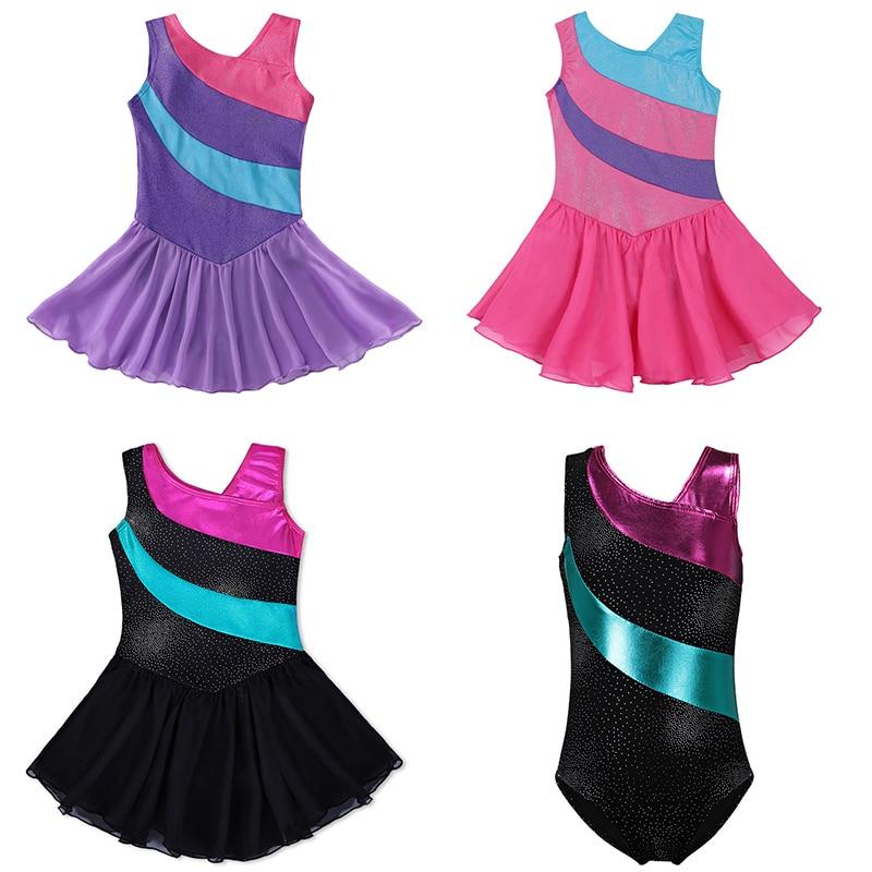 3 Colors Girls Gymnastics Leotard Dress Ballet Dancewear Girls Tulle Skirts Sleeveless Rainbow Sparkle Tutu Dress Costumes