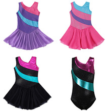 3 colores Girls Gymnastics Leotardo Dress Ballet Dancewear Niñas Faldas de tul sin mangas Rainbow Sparkle Tutu Dress Costumes