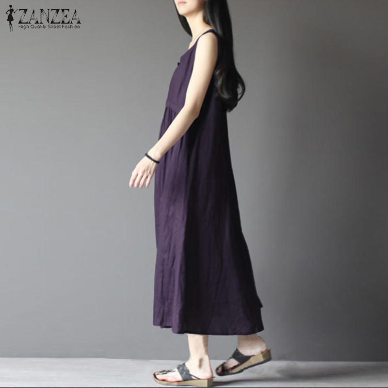ZANZEA Fashion 2018 Summer Women Vintage Dress Long Maxi Dress Sleeveless Sexy Beach Vestido Casual Loose Robe Femme Plus Size