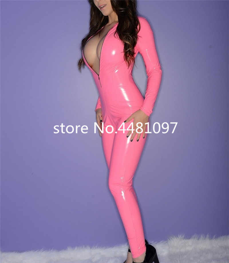 Latex Bodysuit Tight Teddies Latex Catsuit Pink Rubber Wear Front Zip Latex Suit for Girls  Custom Made