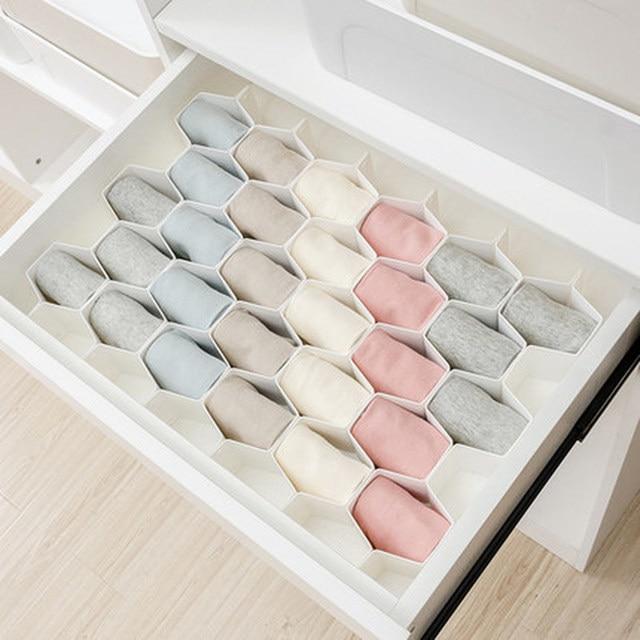 Fashion Partition Separator Drawer Wardrobe Panties Socks Plastic Honeycomb Storage Box