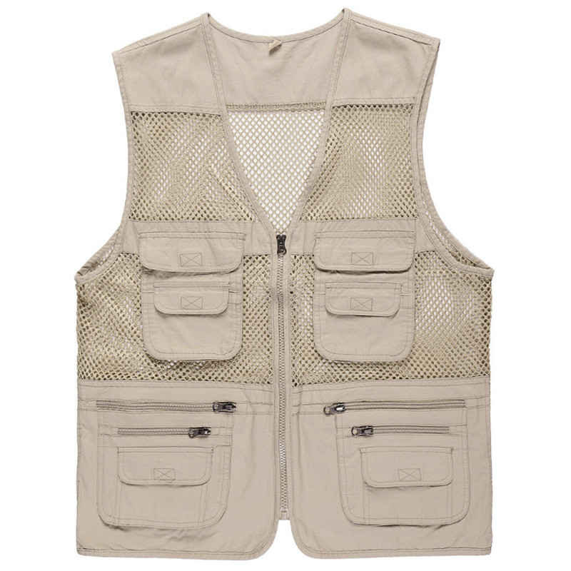 Fishing Vest Summer Outdoor Men Hiking Hunting Mesh Breathable Quick Dry Multi-pocket Waistcoat For Photography Jacket Plus Size