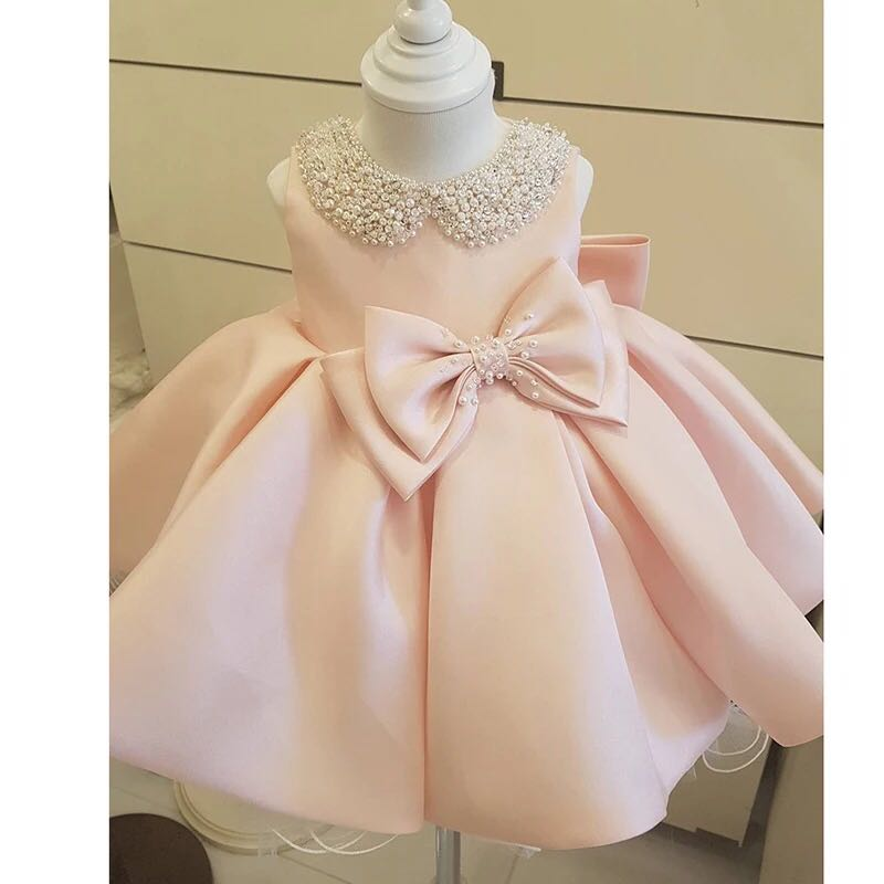 Elegant Beaded Bow   Flower     Girl     Dress   Party Pageant Gown Baby Baptism Gown Pink Tulle Princess Wedding Kids First Communion   Dress