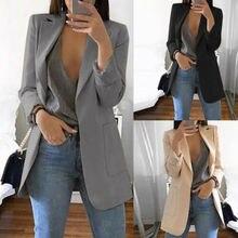 Новинка, женское повседневное пальто с длинным рукавом, костюм для офиса, женский тонкий кардиган, топы, Блейзер, куртка, верхняя одежда