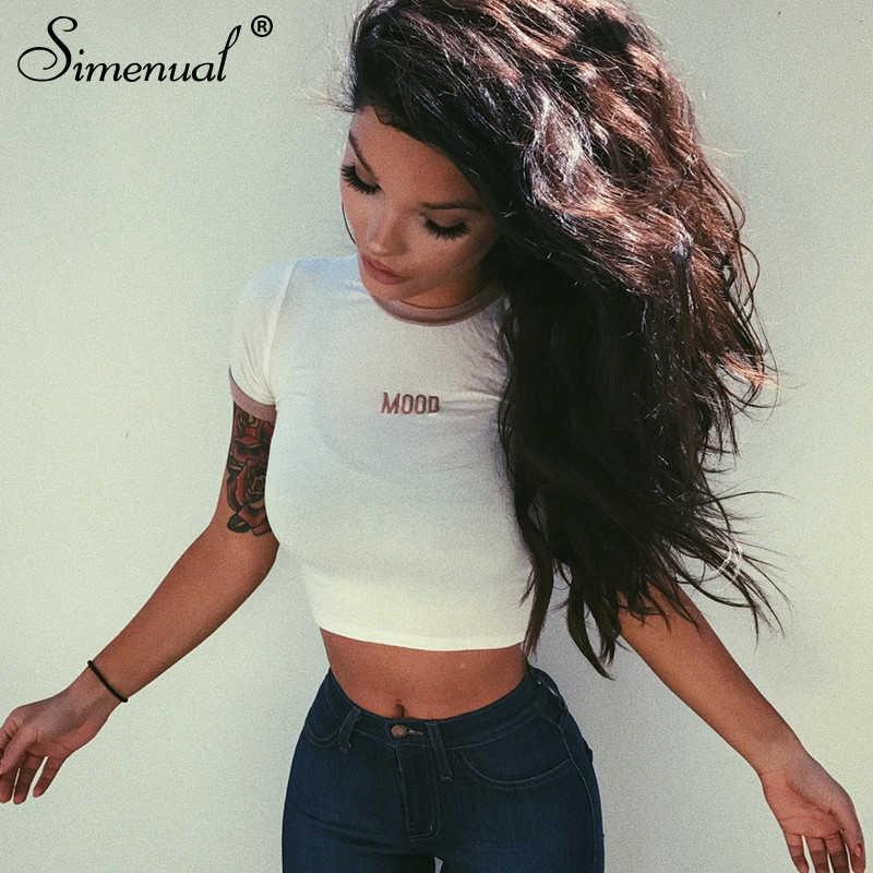 Simenual レタープリントカジュアルな女性の Tシャツ夏刺繍 Tシャツスキニー基本クロップトップ半袖パッチワークファッション Tシャツ