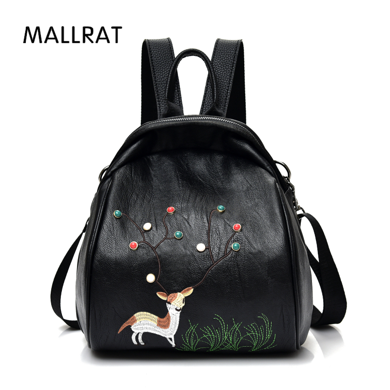 MALLRAT Women Backpack Female PU Leather Mini Backpacks For Girls Deer Embroidery School Bag Mochila Feminina Shoulder Daypack new arrival women pu leather backpacks female school bags for teenagers simple couple shoulder bag string bag mochila feminina