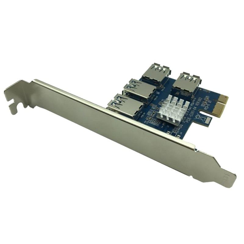6PCS PCI-E 1X to External 4 PCI-e Slot Riser Card PCIe 1 to 4 PCI Express 16X Adapter USB3.0 Port Riser for Bitcoin Miner Mining 5