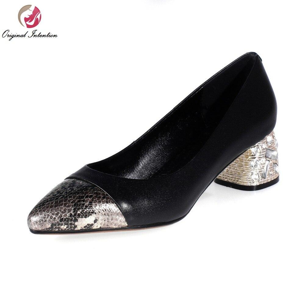 ФОТО Super Fashion Women Pumps Nice Rhinestone Genuine Leather Pointed Toe Square Heels Pumps Black Shoes Woman Plus US Size 3.5-10
