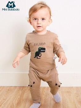Mini Balabala bébé 2 pièces dinosaure imprimé t-shirts hauts + pantalon ensemble infantile nouveau-né bébé garçons doux coton vêtements ensemble de vêtements